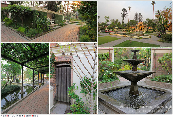 "Relaxing evening at ""The Garden of Dreams"" (the Garden of Six Seasons), a neo-classical historical garden in Kathmandu"