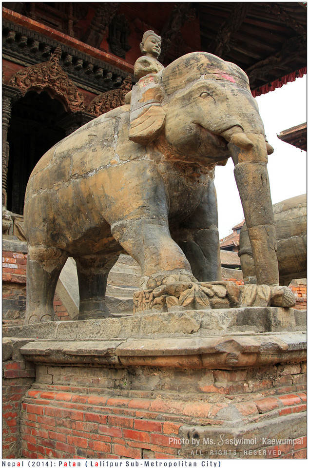 Large stone Elephants guarding the Vishwanath (Shiva) Temple