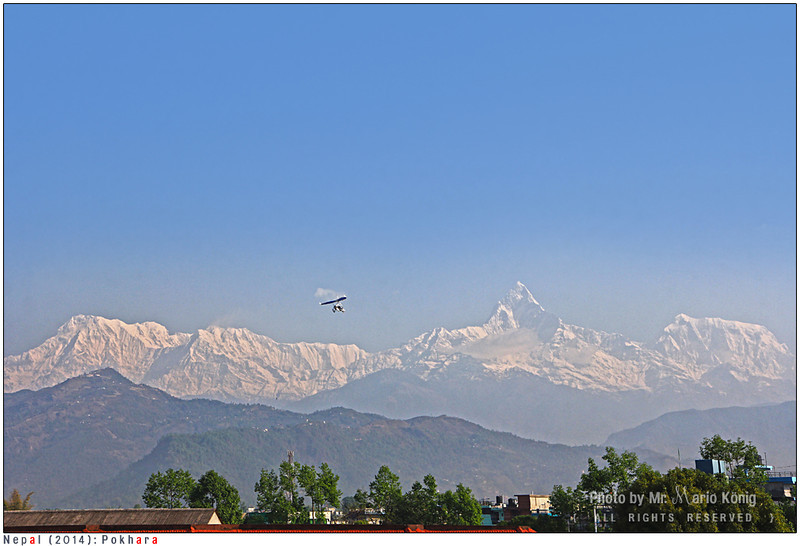 The Machhapuchhre (Fishtail) in Pokhara. The elevation is 6,993 m.