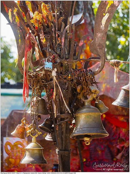Metal bells offered by devotees at Kali Temple, Dhulikhel, Nepal<br /> <br /> ของถวาย