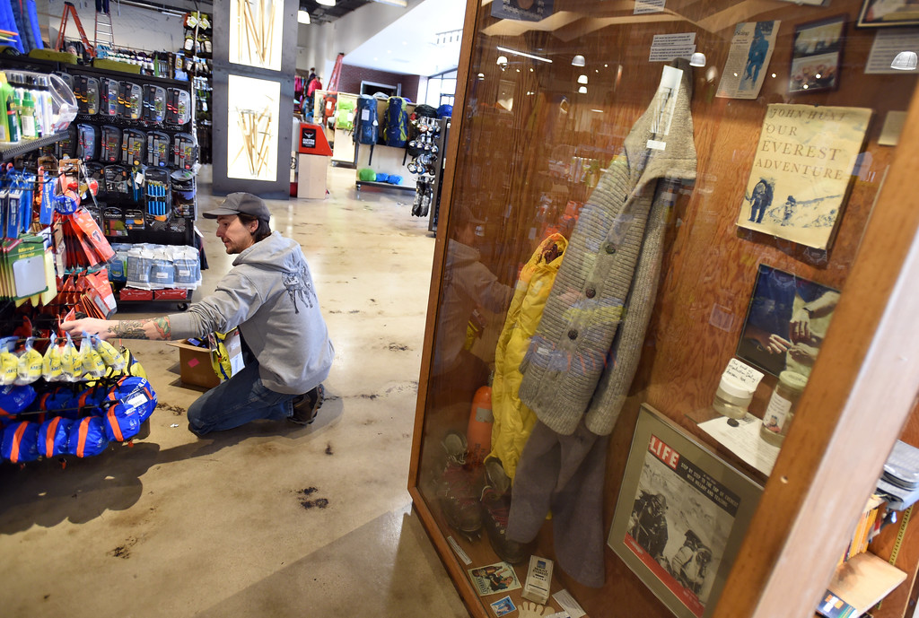 . Much of the historical artifacts remain from the old store. Kris Litchfield arranges a display on the left. Neptune Mountaineering in Boulder is getting a complete makeover. For more photos, go to dailycamera.com.com. Cliff Grassmick  Photographer January 30, 2018