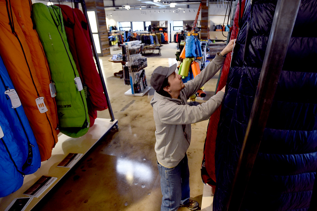 . Kris Litchfield arranges the sleeping bags. Neptune Mountaineering in Boulder is getting a complete makeover. For more photos, go to dailycamera.com.com. Cliff Grassmick  Photographer January 30, 2018