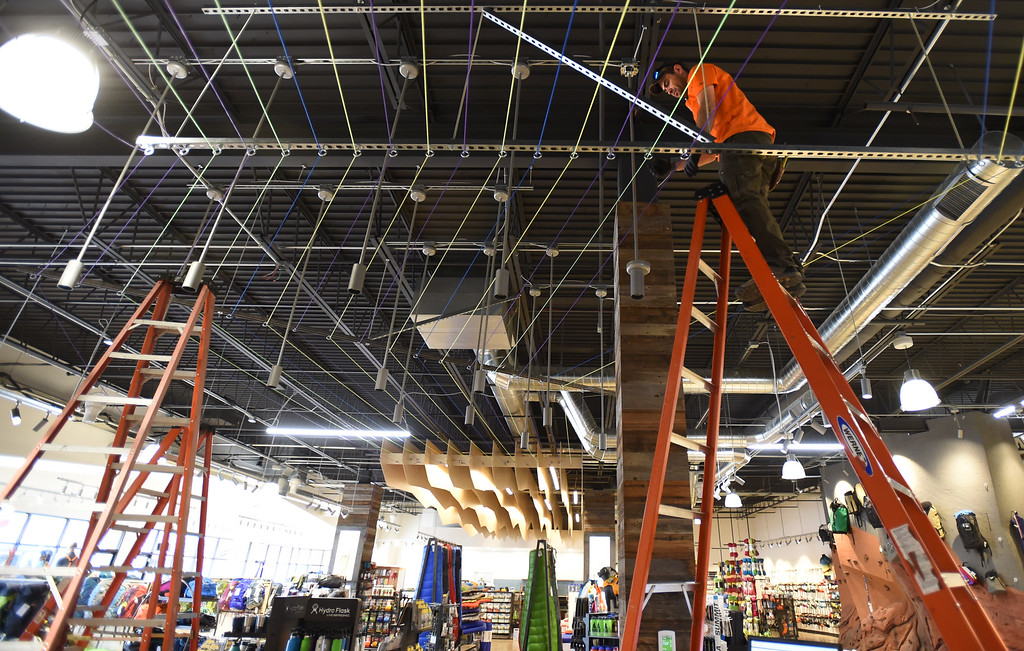 . The ceiling has been raised and more lighting put in. Matt Bowden, of KM Electrical is working on it on Tuesday. Neptune Mountaineering in Boulder is getting a complete makeover. For more photos, go to dailycamera.com.com. Cliff Grassmick  Photographer January 30, 2018