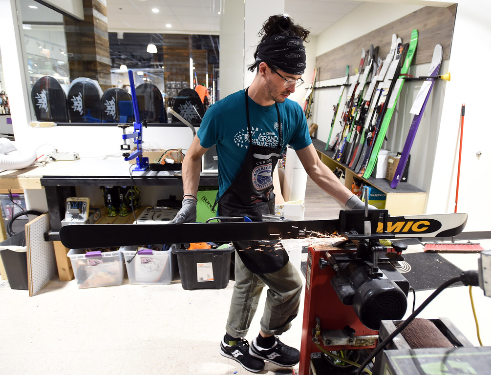 . Peter Innes reconditions skis in the new ski shop at the store. Neptune Mountaineering in Boulder is getting a complete makeover. For more photos, go to dailycamera.com.com. Cliff Grassmick  Photographer January 30, 2018