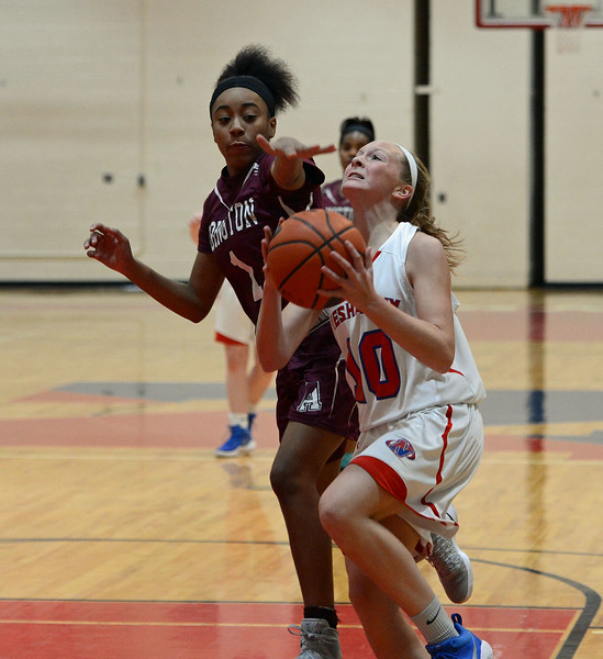 Emily Tantala (10) dribbles the ball past Jordyn Allen (1).