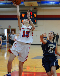 Neshaminy freshman Olivia Scotti (15) drives for a two-point layup.