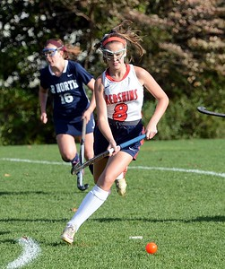 Abby Geisler (8) tracks down free ball for Neshaminy.