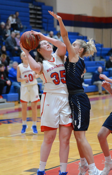 Allison Harvey (35) tries to shoot over Camryn Polinsky (5).