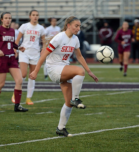 Jackie Ziegler (18) performs soccer juggling act.
