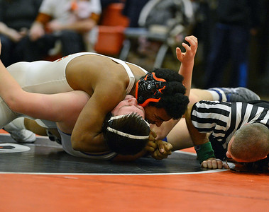 Davis Lee, of Pennsbury, pins Matthew Soska.