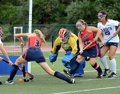 Neshaminy's Julia Geisheimer (#3) and Elayno Curtin (22) take aim at Council Rock goal.