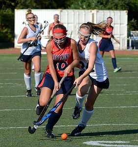 Council Rock South's Emily Keller (#24) defends against Neshaminy Peyton Ritchie.