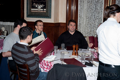 Clockwise around the table, Jimmy Silva, Lincoln Meyers, Jerome Roussin, Tom Masterson(Sorry, only two pics from dinner were usable)