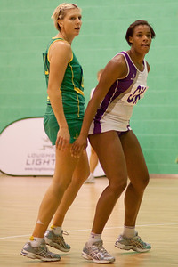Cath Cox of the Australian Diamonds in action during the first of three friendly matches against Loughborough Lightning in a taster of the new Fastnet 2020 style netball rules. Matches played at Loughborough University on the 7th October 2009.