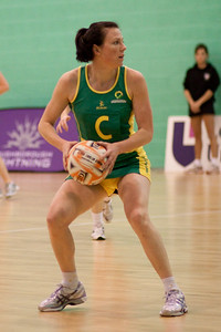 Natalie von Bertouch of the Australian Diamonds gets ready to pass during the first of three friendly matches against Loughborough Lightning in a taster of the new Fastnet 2020 style netball rules. Matches played at Loughborough University on the 7th October 2009.