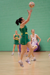 Natalie von Bertouch of the Australian Diamonds goes for the ball during the first of three friendly matches against Loughborough Lightning in a taster of the new Fastnet 2020 style netball rules. Matches played at Loughborough University on the 7th October 2009.