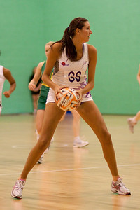 Lianne Badmin of the Loughborough Lightning goes for the pass during the first of three friendly matches against Loughborough Lightning in a taster of the new Fastnet 2020 style netball rules. Matches played at Loughborough University on the 7th October 2009.
