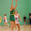 Renae Hallinan of the Australian Diamonds catches the ball during the first of three friendly matches against Loughborough Lightning in a taster of the new Fastnet 2020 style netball rules. Matches played at Loughborough University on the 7th October 2009.