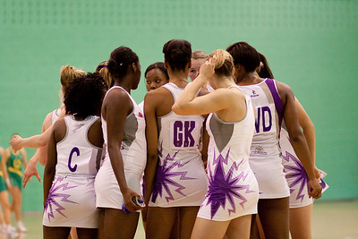 Loughborough Lightning team talk tactics during the first of three friendly matches against Loughborough Lightning in a taster of the new Fastnet 2020 style netball rules. Matches played at Loughborough University on the 7th October 2009.