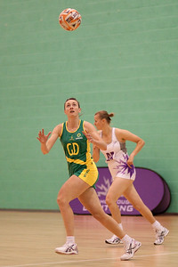 Action during the first of three friendly matches against Loughborough Lightning in a taster of the new Fastnet 2020 style netball rules. Matches played at Loughborough University on the 7th October 2009.