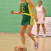 Natalie von Bertouch of the Australian Diamonds watches the ball pass by during the first of three friendly matches against Loughborough Lightning in a taster of the new Fastnet 2020 style netball rules. Matches played at Loughborough University on the 7th October 2009.