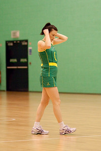 Natalie von Bertouch of the Australian Diamonds gets ready before the first of three friendly matches against Loughborough Lightning in a taster of the new Fastnet 2020 style netball rules. Matches played at Loughborough University on the 7th October 2009.