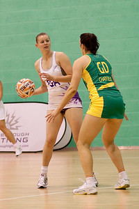 Becky James of Loughborough Lightning faces Bianca Chatfield of the Australian Diamonds during the first of three friendly matches against Loughborough Lightning in a taster of the new Fastnet 2020 style netball rules. Matches played at Loughborough University on the 7th October 2009.
