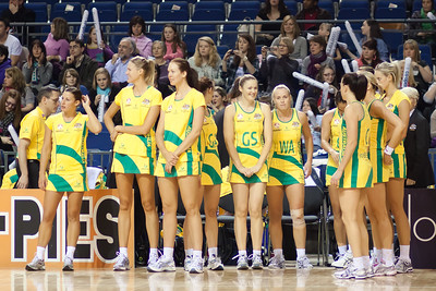 The Australian Netball Diamonds team take to the court during the 1st International Netball Test between England & Australia at the Echo Arena in Liverpool on 19th February 2010