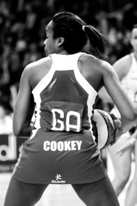 Pamela Cookey of England Netball in action during the 1st International Netball Test between England & Australia at the Echo Arena in Liverpool on 19th February 2010