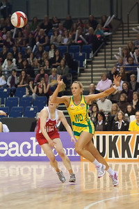 Renae Hallinan of the Australian Netball Diamonds goes for the ball during the 1st International Netball Test between England & Australia at the Echo Arena in Liverpool on 19th February 2010.