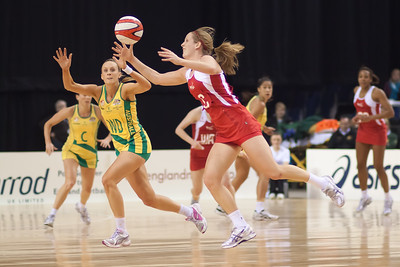 Sara Bayman of England Netball in flight during the 1st International Netball Test between England & Australia at the Echo Arena in Liverpool on 19th February 2010
