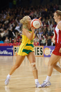 Kimberlee Green of the Australian Netball Diamonds in action during the 1st International Netball Test between England & Australia at the Echo Arena in Liverpool on 19th February 2010