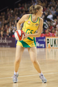 Susan Pratley of the Australian Netball Diamonds in flight during the 1st International Netball Test between England & Australia at the Echo Arena in Liverpool on 19th February 2010