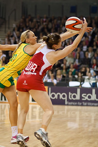 Renae Hallinan of the Australian Netball Diamonds and Karen Atkinson of England Netball in action during the 1st International Netball Test between England & Australia at the Echo Arena in Liverpool on 19th February 2010