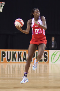 Sonia Mkoloma of England Netball in flight during the 1st International Netball Test between England & Australia at the Echo Arena in Liverpool on 19th February 2010