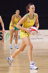 Natalie Medhurst of the Australian Netball Diamonds in action during the 1st International Netball Test between England & Australia at the Echo Arena in Liverpool on 19th February 2010