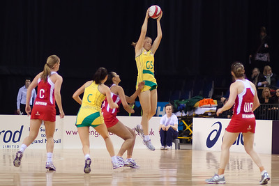 Susan Pratley of the Australian Netball Diamonds in action during the 1st International Netball Test between England & Australia at the Echo Arena in Liverpool on 19th February 2010