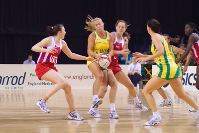 Kimberlee Green of the Australian Netball Diamonds collides with Sara Bayman of England Netball during the 1st International Netball Test between England & Australia at the Echo Arena in Liverpool on 19th February 2010