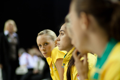 Mo'onia Gerrard of the Australian Netball Diamonds on the bench before the 1st International Netball Test between England & Australia at the Echo Arena in Liverpool on 19th February 2010