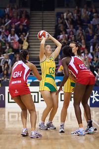 Susan Pratley of the Australian Netball Diamonds goes for the shot during the 1st International Netball Test between England & Australia at the Echo Arena in Liverpool on 19th February 2010