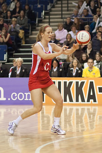 Sara Bayman of England Netball in action during the 1st International Netball Test between England & Australia at the Echo Arena in Liverpool on 19th February 2010