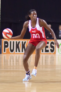 Sonia Mkoloma of England Netball goes for the pass during the 1st International Netball Test between England & Australia at the Echo Arena in Liverpool on 19th February 2010