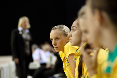 Renae Hallinan of the Australian Netball Diamonds on the bench before the 1st International Netball Test between England & Australia at the Echo Arena in Liverpool on 19th February 2010