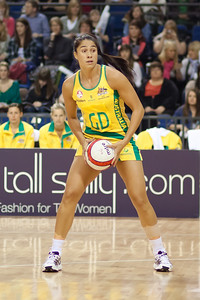 Mo'onia Gerrard of the Australian Netball Diamonds in action during the 1st International Netball Test between England & Australia at the Echo Arena in Liverpool on 19th February 2010