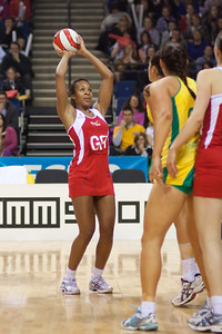 Pamela Cookey of England Netball goes for the shot during the 1st International Netball Test between England & Australia at the Echo Arena in Liverpool on 19th February 2010