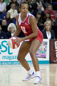 Pamela Cookey in action during the 1st of 3 Test matches between England Netball and Jamaica's 'Sunshine Girls'. Played at the o2 Arena in London