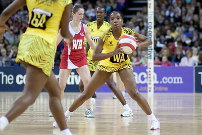 a pass to Simone Forbes during the 1st of 3 Test matches between England Netball and Jamaica's 'Sunshine Girls'. Played at the o2 Arena in London.