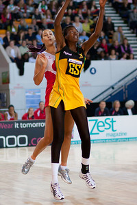 Geva Mentor & Romelda Aiken in action during the the 2nd of 3 Test matches between England Netball and Jamaica's 'Sunshine Girls', Played at the Skydome in Coventry on 24th February 2009
