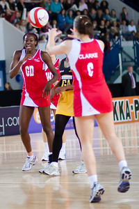 Sonia Mkoloma & Jade Clarke in action during the the 2nd of 3 Test matches between England Netball and Jamaica's 'Sunshine Girls', Played at the Skydome in Coventry on 24th February 2009