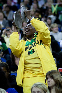 Jamaican Netball Fan playing cymbals at the 1st Test @ the O2 Arena London